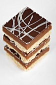 Tower of chocolate caramel shortbread