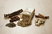 Tea ingredients (liquorice, ginger, anise, cinnamon, fennel, aniseed)