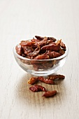 Dried chillies in a small glass dish