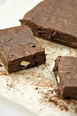 Nut brownies on baking parchment