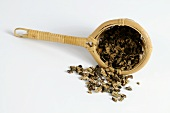 Dried black cohosh root in a tea strainer