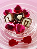 Chocolates with the message 'I love U'