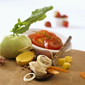 Ingredients for vegetable stew with chicken