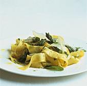 Ribbon pasta with green asparagus, lemon, herbs and Parmesan