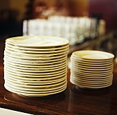 Two piles of plates