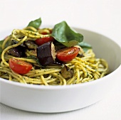 Spaghetti with tomatoes, aubergine and basil pesto