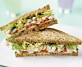 Wholemeal shrimp and salad sandwiches