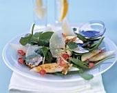 Watercress salad with asparagus, Parmesan & pomegranate seeds