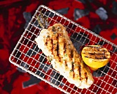 Monkfish on a barbecue with herbs and lemon