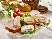 Cold cuts platter with bread