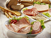 Cold cuts platters with bread
