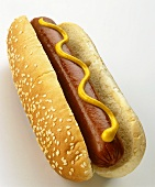 A hot dog with mustard in sesame bun