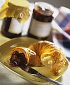 Croissant with cherry jam