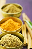 Assorted spices in small bowls