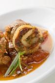 Belly pork rolls with tomato pesto