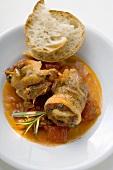 Belly pork rolls with tomato pesto, white bread