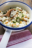 Lemon risotto with pine nuts and pesto