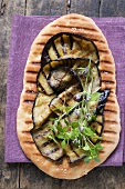 Pizza bread with grilled aubergines