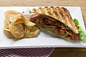 BLT sandwich, toasted, with crisps