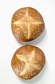 Two salted pretzel rolls