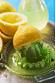Squeezed lemons with lemon squeezer and lemon juice