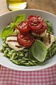 Risoni with pesto, grilled mozzarella and tomatoes