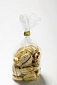 Caramel sweets in a cellophane bag