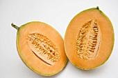Cantaloupe melon, halved