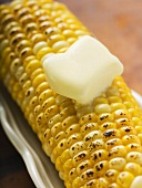 Grilled corn cob with knob of melting butter