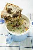 Barley soup with bacon and bread
