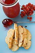 Redcurrant jelly and toasted raisin bread