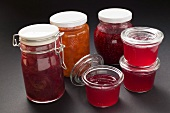 An assortment of jams and jelly in jars
