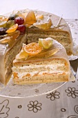 Marzipan-covered cake with candied fruit