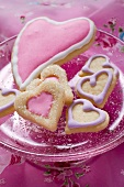 Heart-shaped biscuits in glass bowl for Valentine's Day