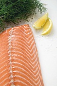 Salmon fillet, dill and lemon wedges (overhead view)