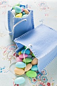 Sugared almonds in two felt bags