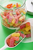Sour Sweets (fruity jelly sweets, USA) in jar and bag
