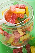 Sour Sweets (fruity jelly sweets, USA) in storage jar