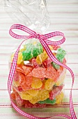 Sour Sweets (fruity jelly sweets, USA) in cellophane bag