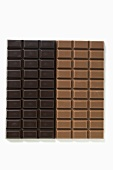 Two bars of chocolate: dark chocolate and milk chocolate