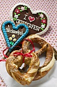 Pretzel, lye roll and Lebkuchen hearts for Oktoberfest