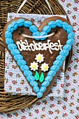 Lebkuchen heart for Oktoberfest (overhead view)