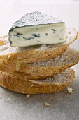 Piece of blue cheese on slices of white bread