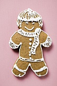 Gingerbread man, decorated with white icing
