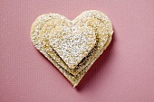 Pastry hearts with icing sugar