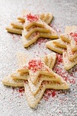 Pastry stars with sugar (for Christmas)