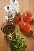 Tomato sauce ingredients: tomatoes, parsley, olive oil, salt