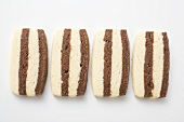 Four striped biscuits in a row