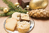 Assorted Christmas biscuits on silver plate