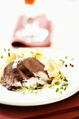 Duck breast with ribbon pasta